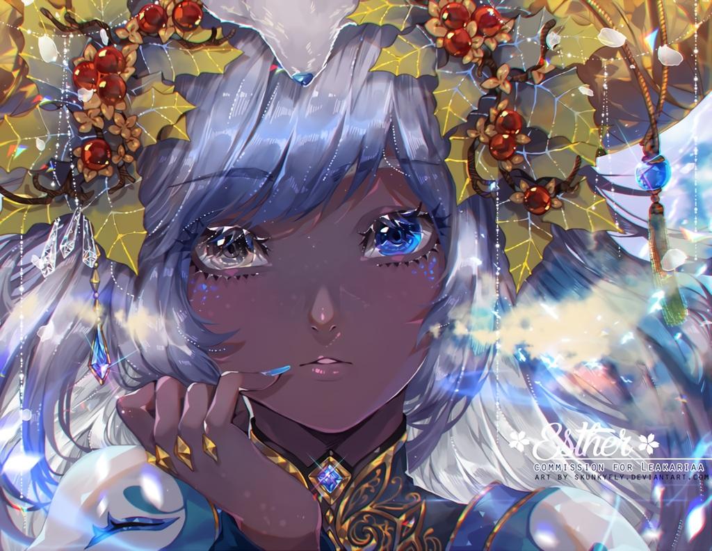 bicolored_eyes close dark_skin gray_hair headdress leaves original skunkyfly watermark