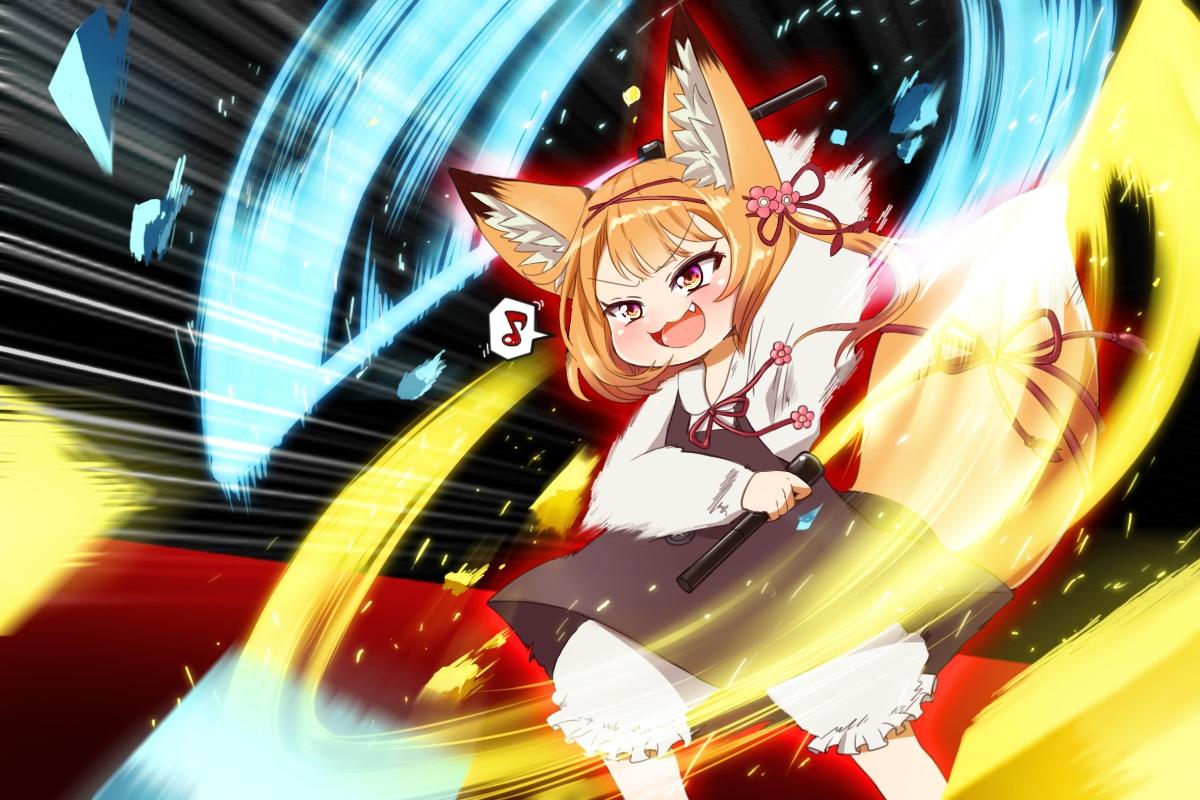 animal_ears beat_saber bloomers cat_smile dress f09fa4aa fang foxgirl koume_(beat_saber) lightsaber loli music orange_hair red_eyes shirt short_hair sword tail weapon