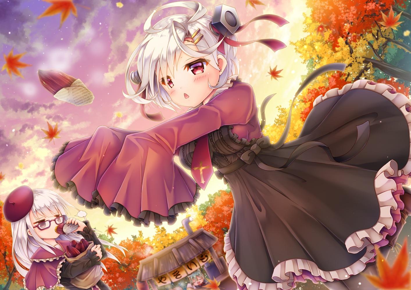 akashi_(azur_lane) anthropomorphism autumn azur_lane blush bow catgirl chibi clouds dress erebus_(azur_lane) food glasses gray_hair leaves pantyhose red_eyes sky terror_(azur_lane) tie tree yorarry