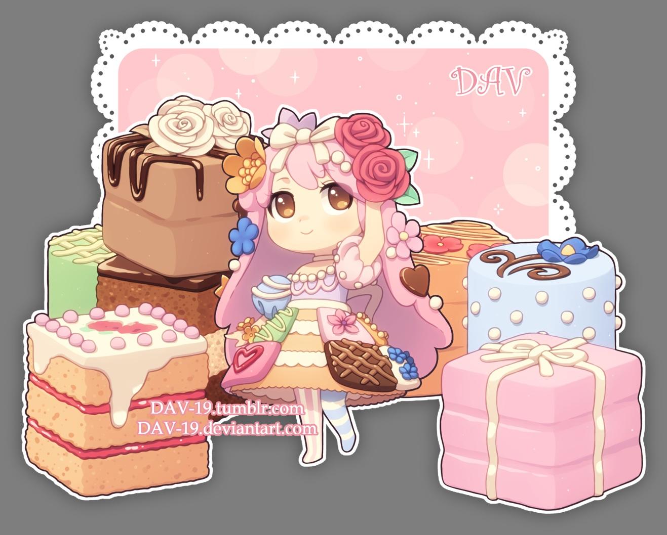 brown_eyes cake chibi choker dav-19 flowers food lolita_fashion long_hair original pantyhose pink_hair rose transparent waifu2x watermark