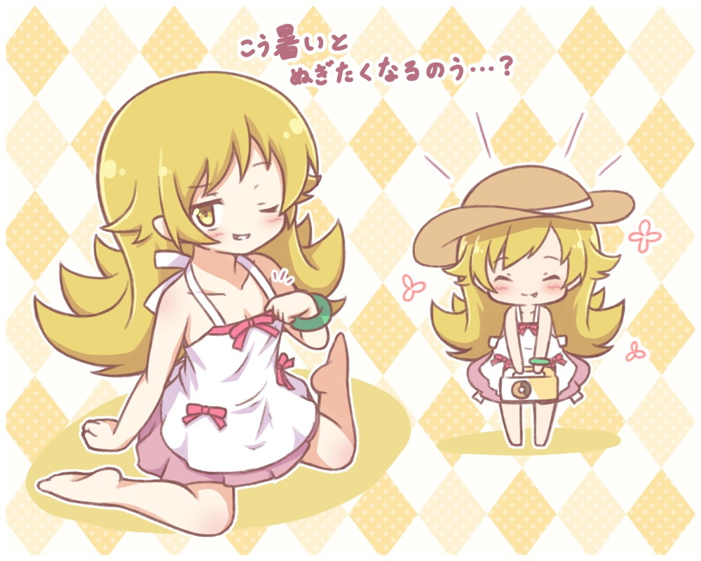 bakemonogatari barefoot blonde_hair bow chibi dress fang food long_hair mitarashi_neko monogatari_(series) oshino_shinobu translation_request wink wristwear yellow_eyes