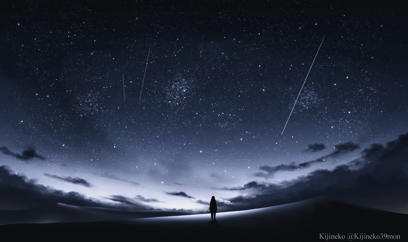 clouds kijineko original scenic silhouette sky stars watermark