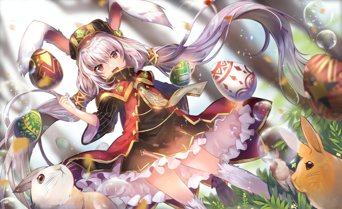 animal animal_ears bubbles bunny_ears bunnygirl cat_smile fang grass leah_(sdorica_-sunset-) loli long_hair rabbit red_eyes sdorica_-sunset- twintails usagihime white_hair