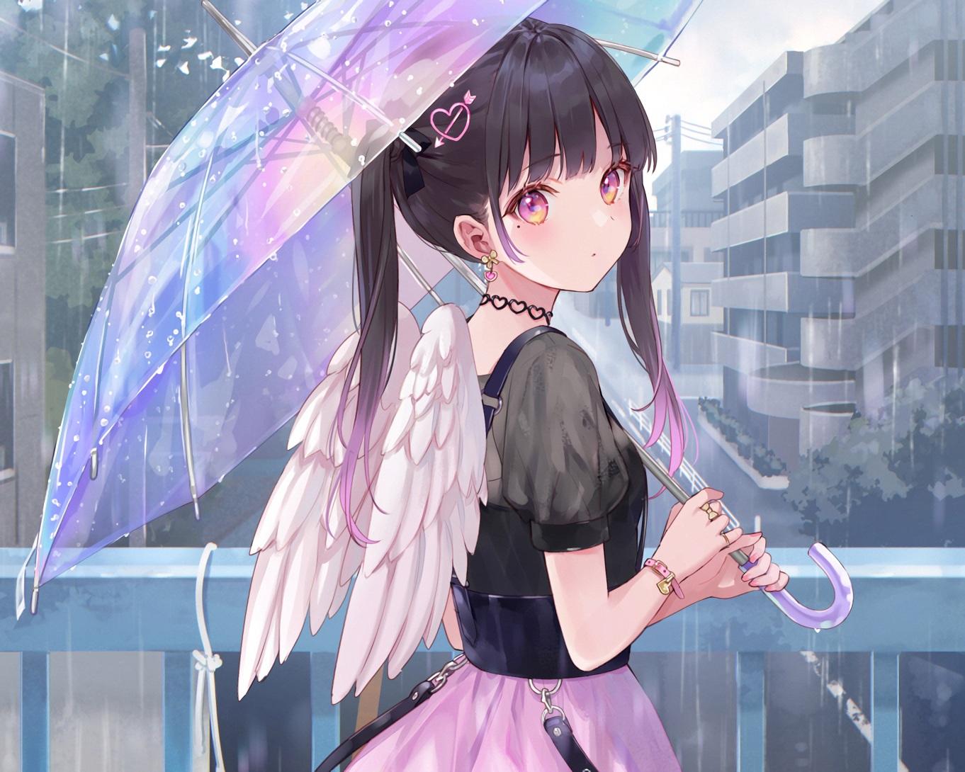 black_hair building choker city cropped fukahire_sanba original pink_eyes rain see_through skirt twintails umbrella waifu2x water wings wristwear