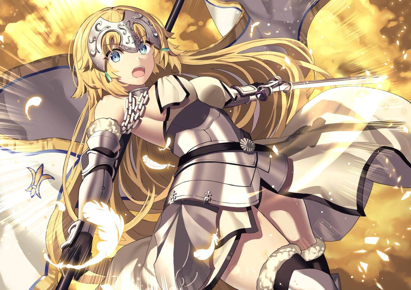 akae_neo aqua_eyes armor blonde_hair breasts chain elbow_gloves fate/grand_order fate_(series) feathers gloves headdress jeanne_d'arc_(fate) long_hair sword thighhighs weapon