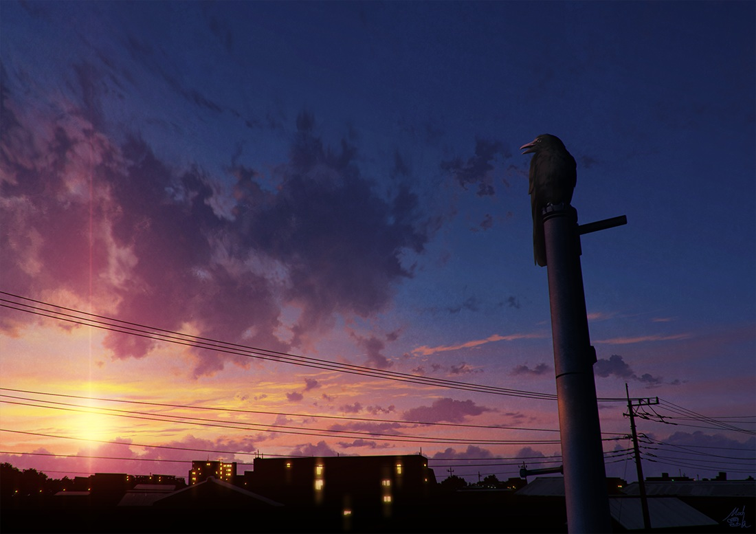 animal bird building city clouds mocha_(cotton) nobody original scenic signed silhouette sky sunset