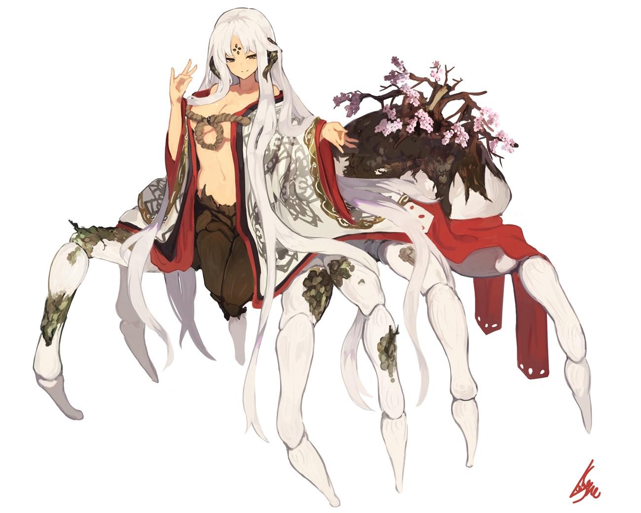 breasts brown_eyes cherry_blossoms flowers horns japanese_clothes kimono lansane long_hair navel no_bra open_shirt original signed white white_hair