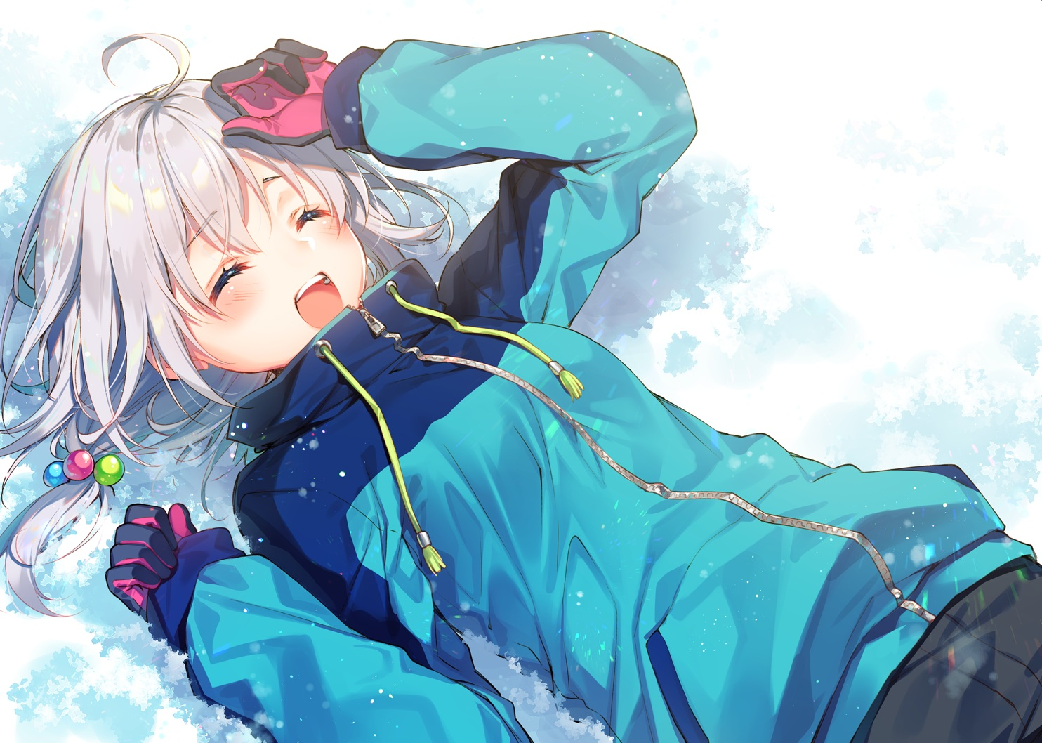 blush gloves gray_hair original short_hair snow toosaka_asagi
