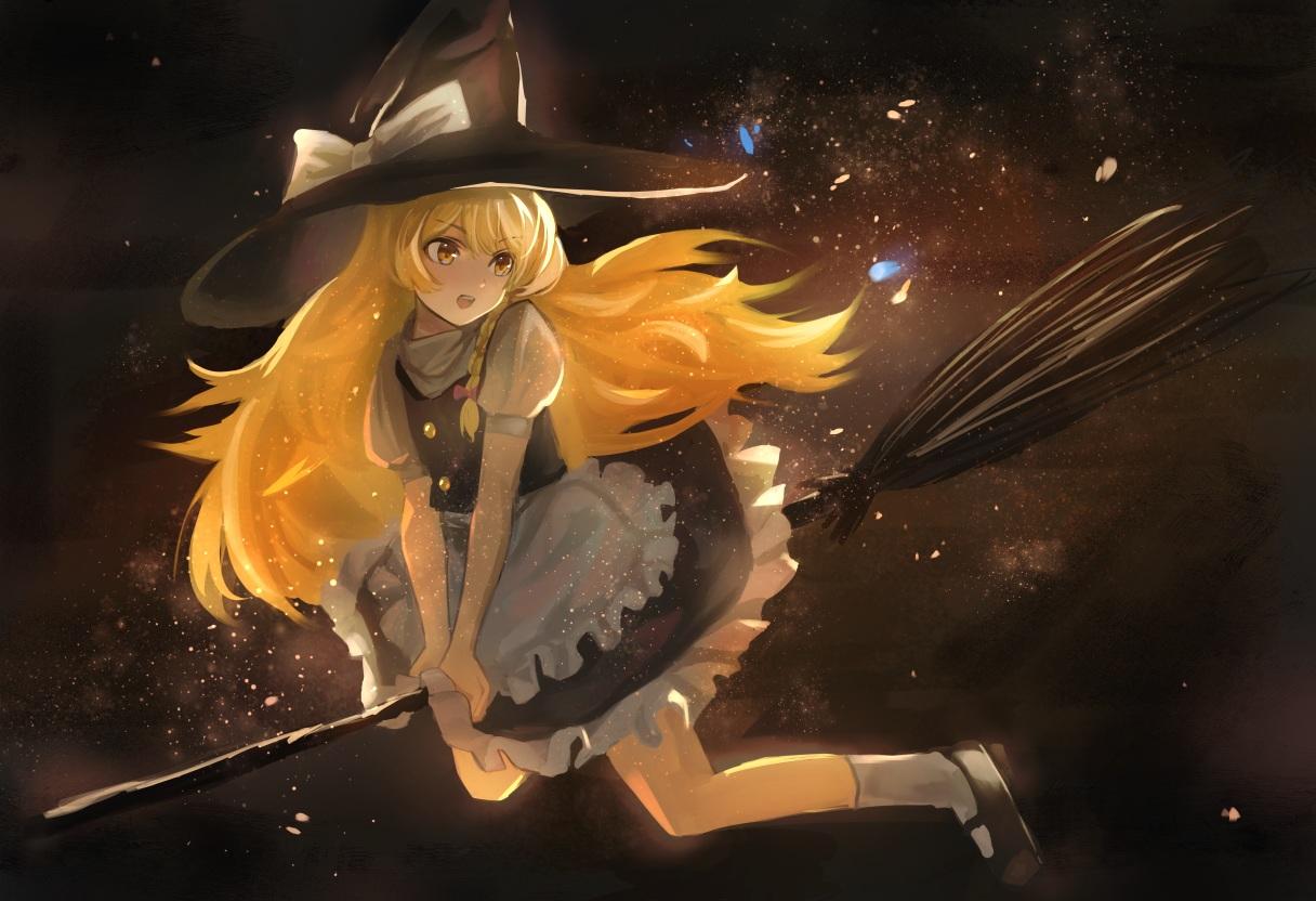 apron blonde_hair bow braids dress hat kirisame_marisa long_hair maachi_(fsam4547) touhou witch witch_hat yellow_eyes
