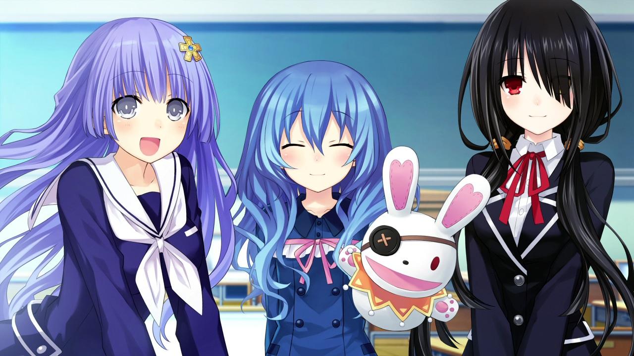 black_hair blue_hair bow compile_heart date_a_live doll eyepatch game_cg izayoi_miku puppet purple_hair red_eyes school_uniform sting tokisaki_kurumi tsunako yoshino_(date_a_live) yoshinon_(date_a_live)