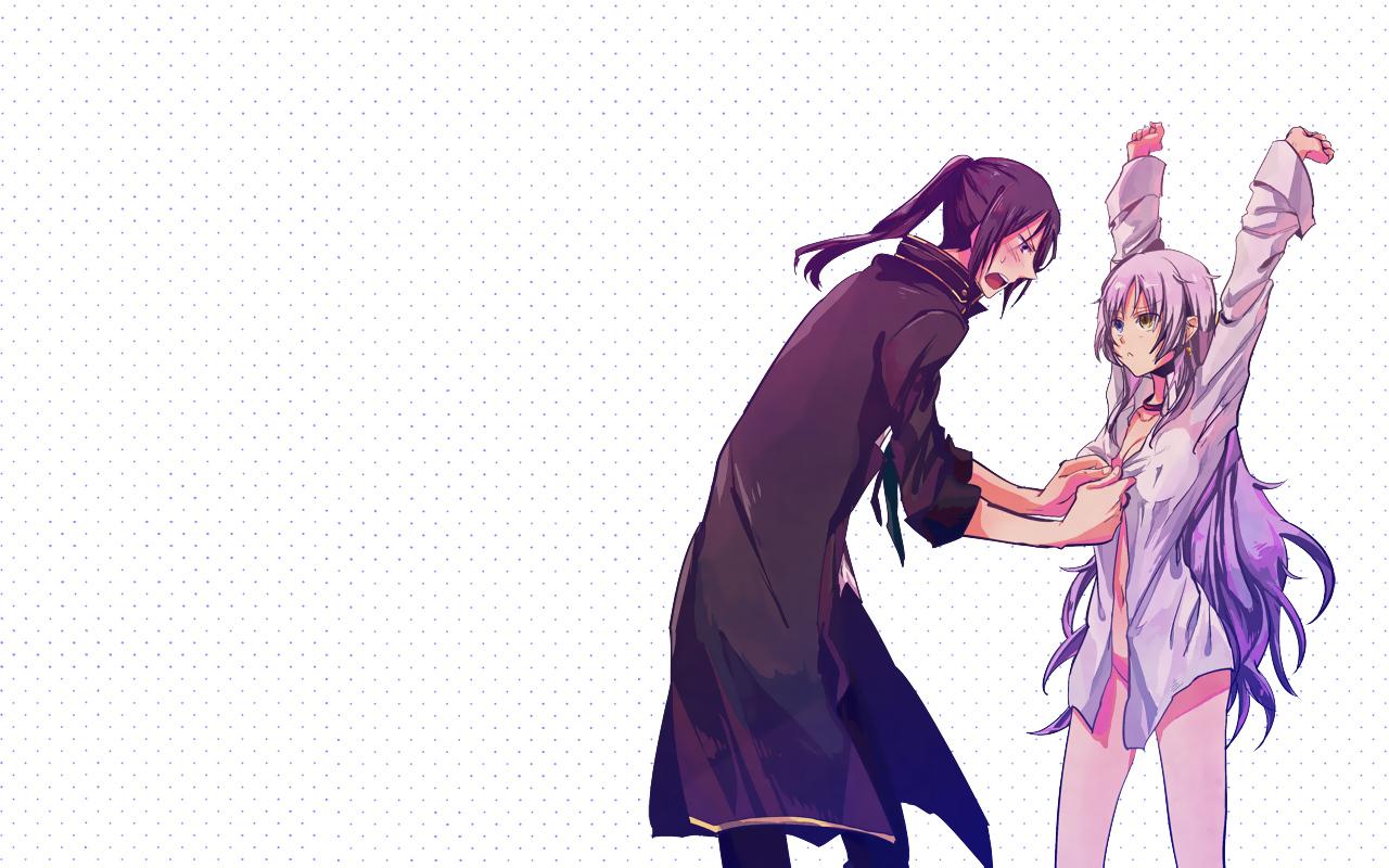 Bicolored eyes black hair blush collar ishiwari k anime long hair naked shirt neko k nude