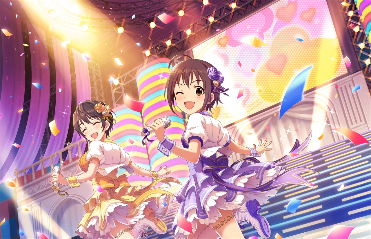 2girls annin_doufu boots bow brown_eyes brown_hair dress garter idolmaster idolmaster_cinderella_girls idolmaster_cinderella_girls_starlight_stage microphone oikawa_shizuku short_hair wakiyama_tamami wink wristwear