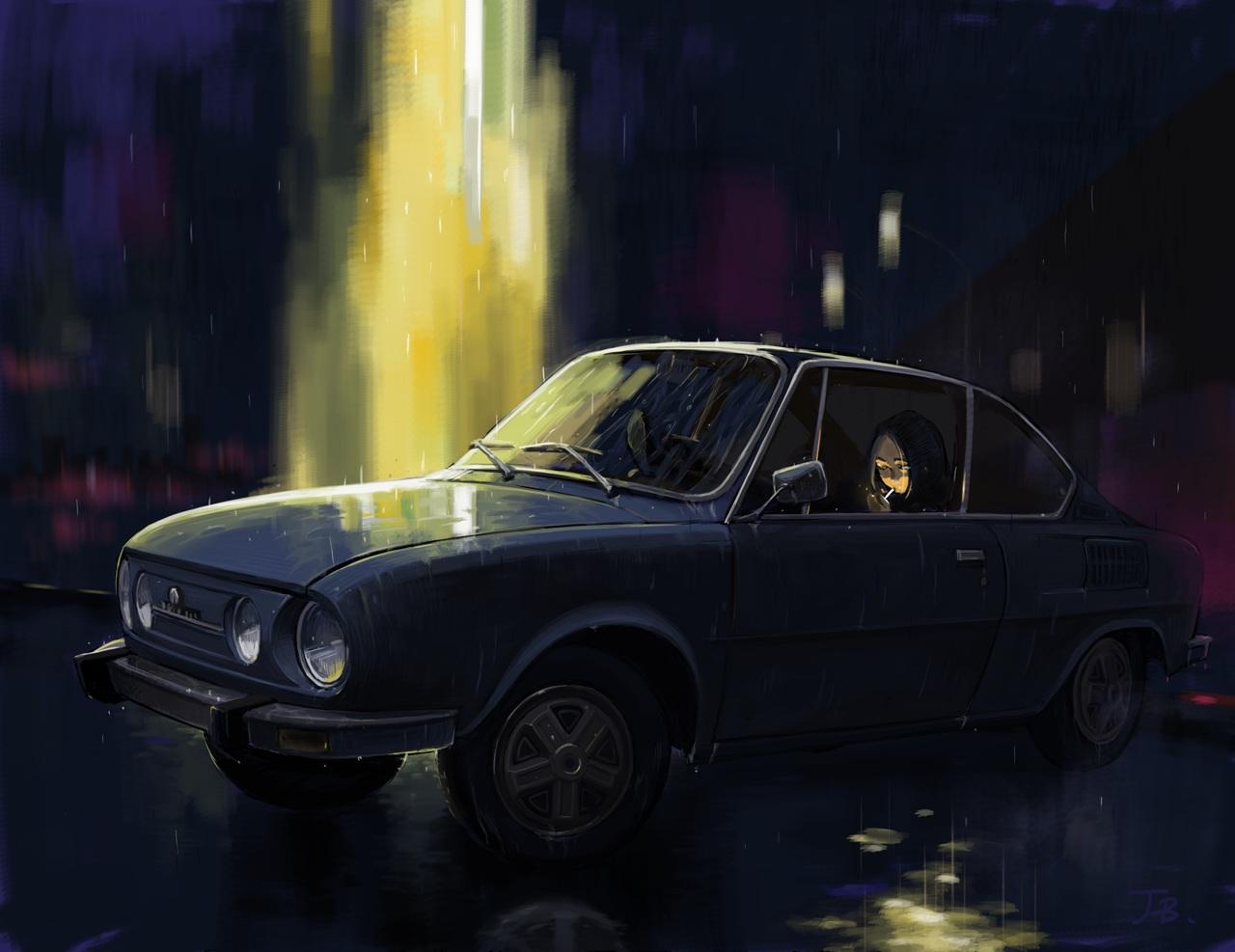 car dark jetbrick night original rain reflection signed smoking water