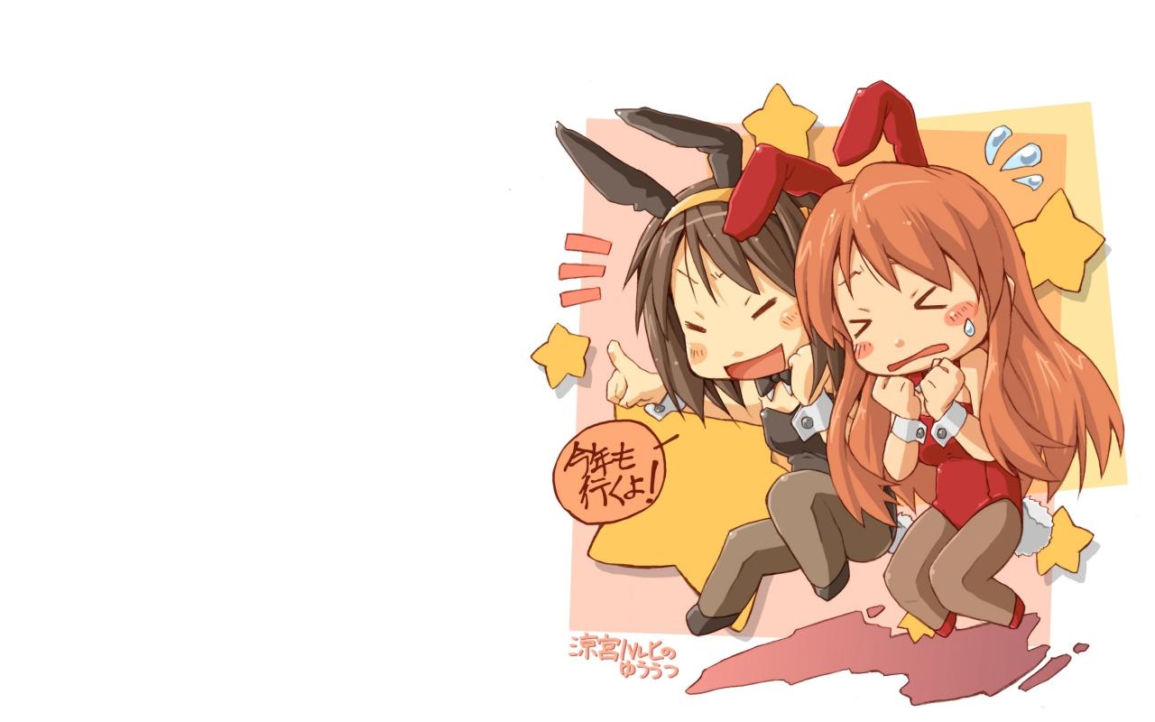 animal_ears asahina_mikuru brown_hair bunny_ears bunnygirl long_hair monji_(nobanashi_areno) pantyhose short_hair suzumiya_haruhi suzumiya_haruhi_no_yuutsu white