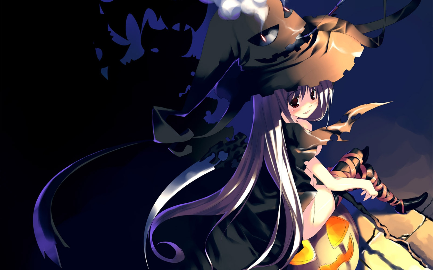 boots halloween hat long_hair nude pumpkin smoking tagme_(artist) thighhighs witch witch_hat