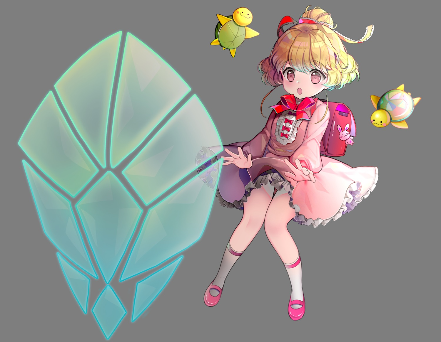 animal blonde_hair bow dress kneehighs loli lolita_fashion magic original pink_eyes primcoco short_hair transparent turtle