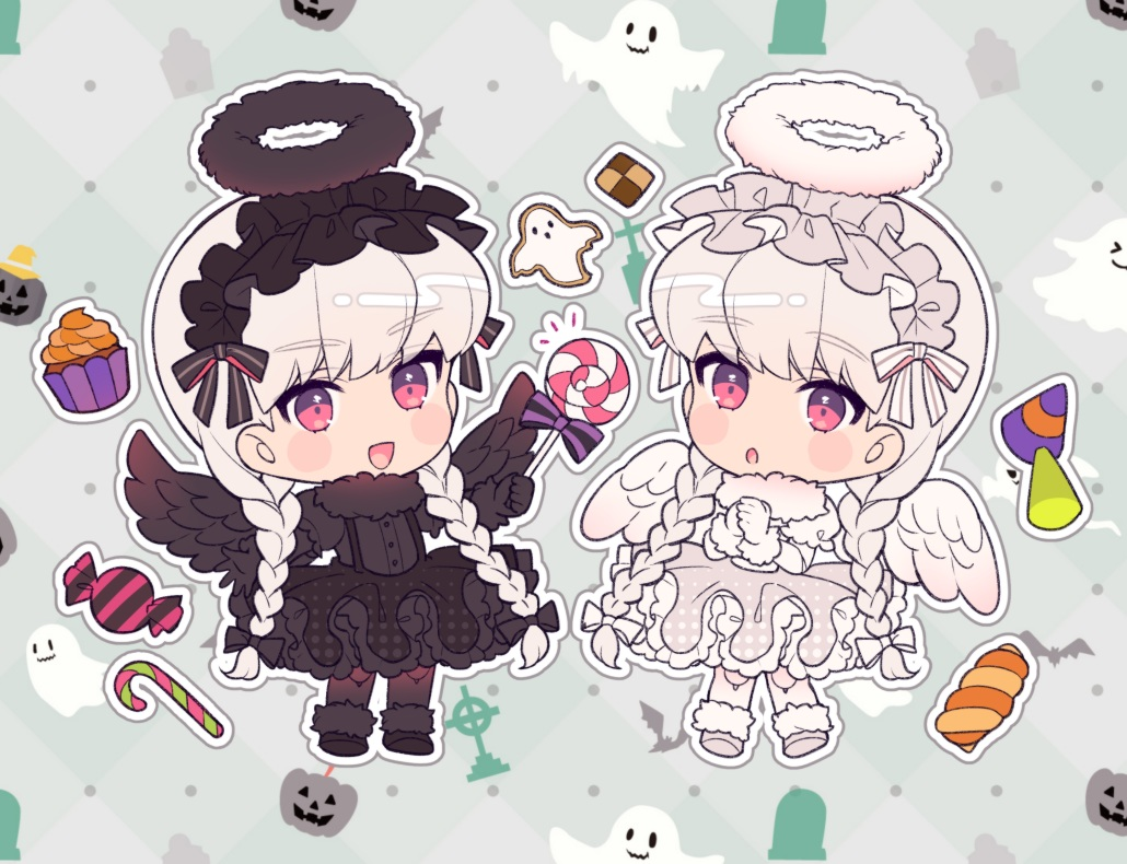 2girls alice_(fate/extra) angel braids cake candy chibi fate/extra fate_(series) food gloves goth-loli halloween halo headdress karokuchitose lolita_fashion lollipop long_hair nursery_rhyme_(fate/extra) red_eyes twintails white_hair wings