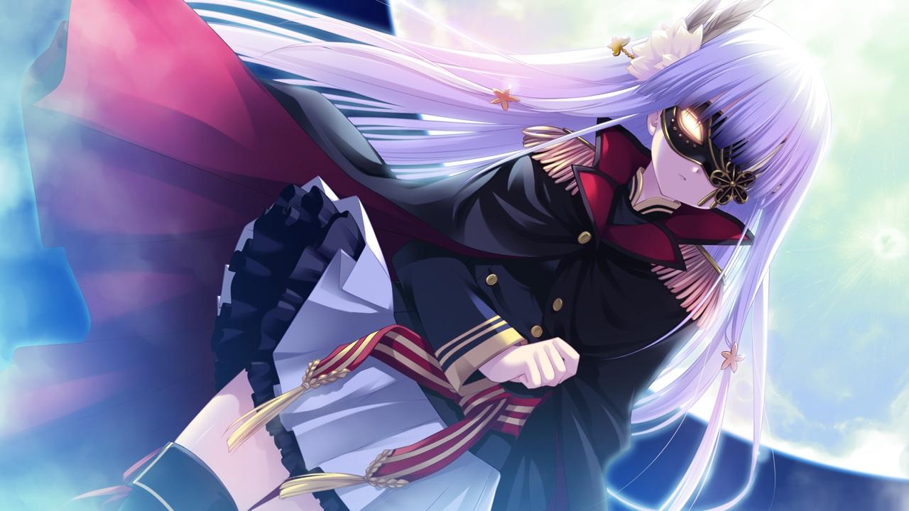 game_cg hhg_megami_no_shuuen long_hair mask miyasu_risa moon reigetsu skirt white_hair windmill_(company)