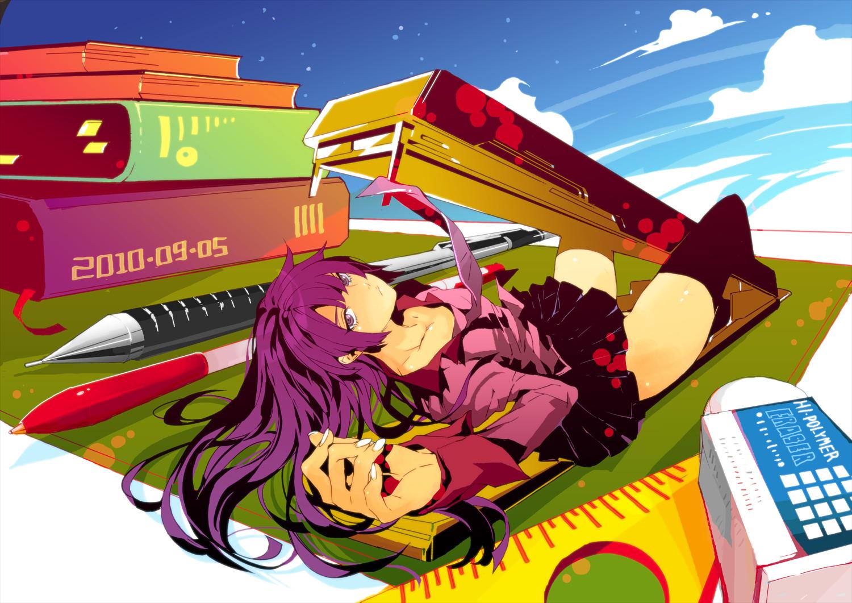 bakemonogatari book clouds fishine long_hair monogatari_(series) purple_eyes purple_hair school_uniform senjougahara_hitagi skirt thighhighs tie