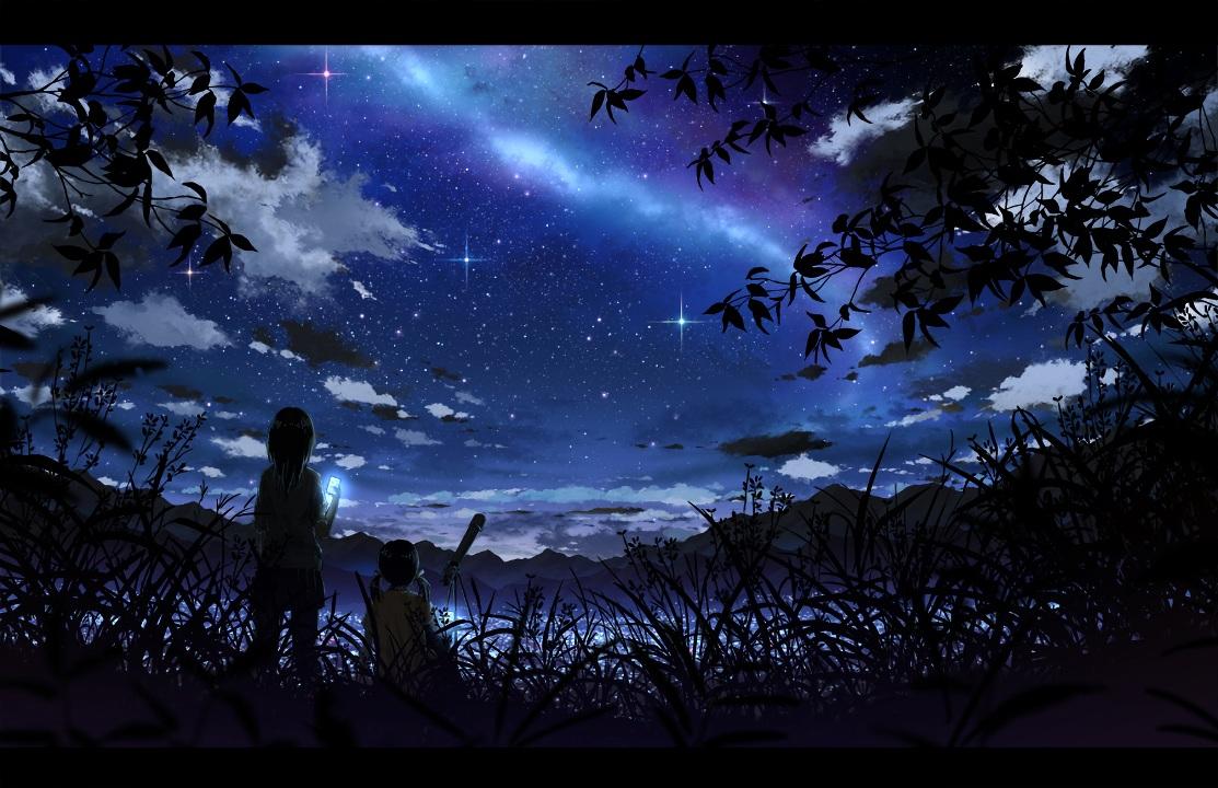 2girls blue bokuden clouds dark grass night original phone scenic short_hair silhouette sky stars waifu2x