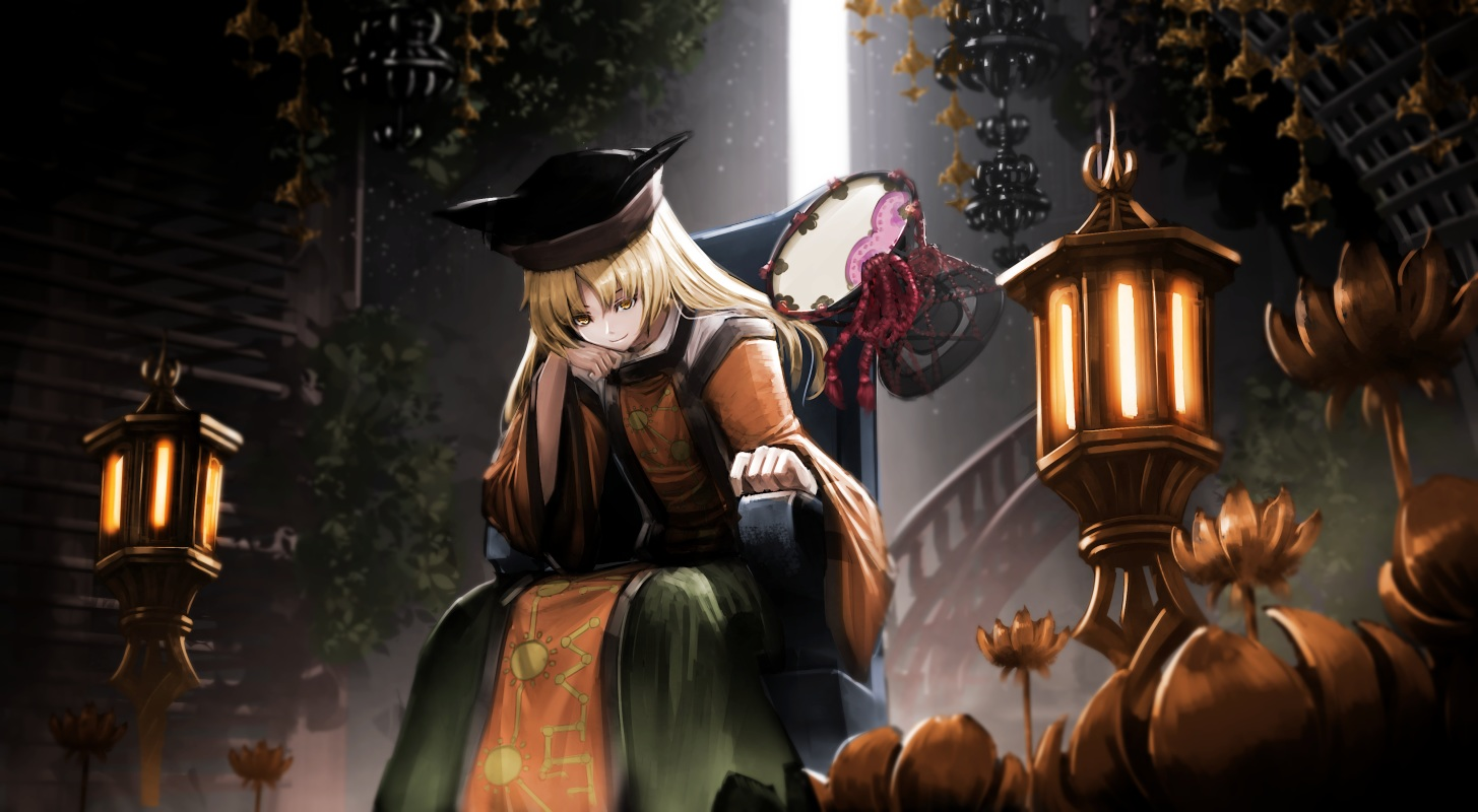 blonde_hair long_hair matara_okina ryosios touhou yellow_eyes