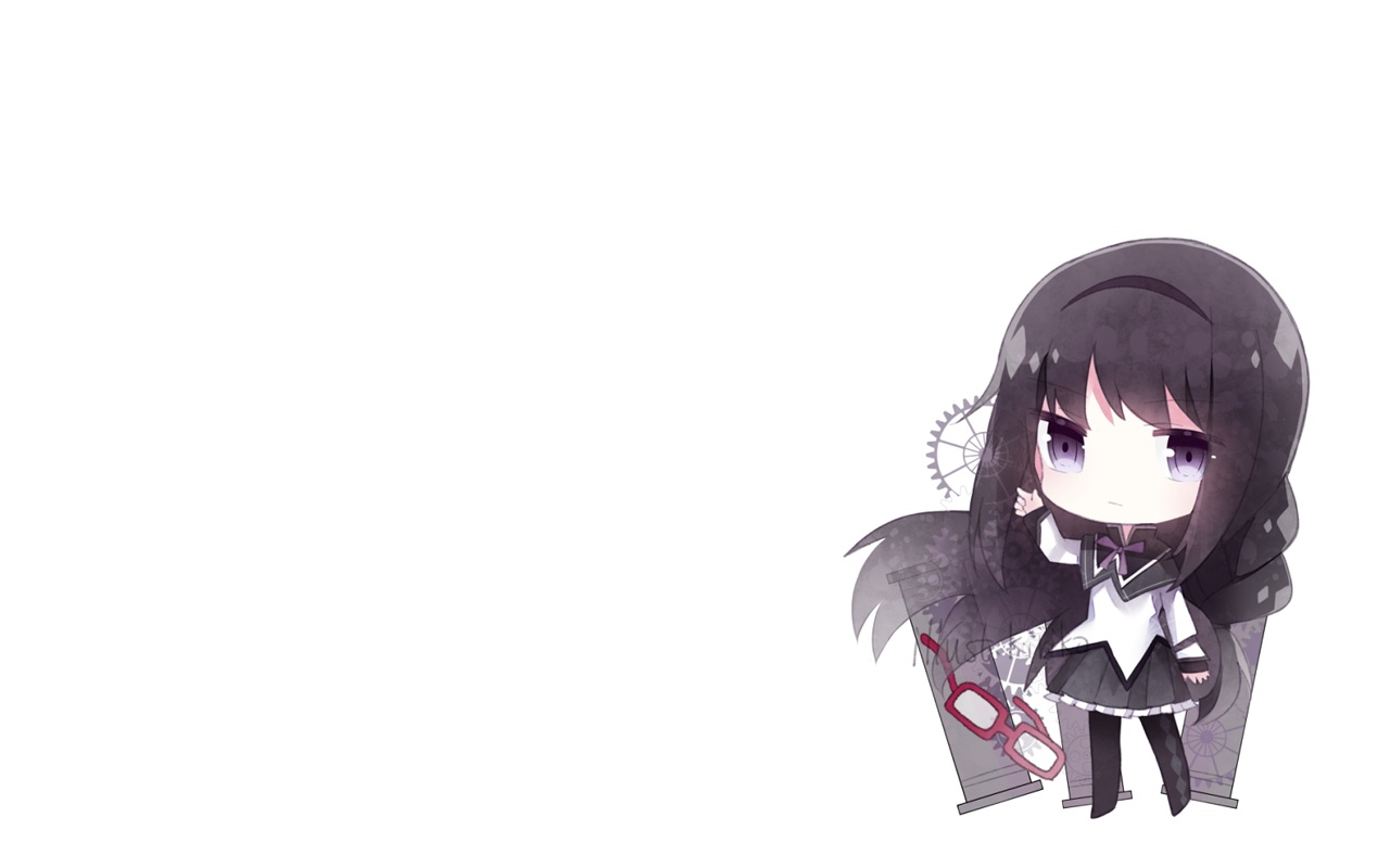 akemi_homura black_hair chibi cuivre glasses long_hair mahou_shoujo_madoka_magica pantyhose purple_eyes school_uniform signed skirt white