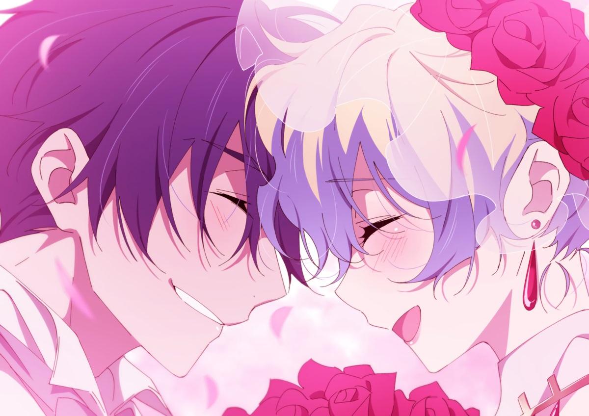 black_hair blush close flowers gray_hair male nia_teppelin ntend short_hair simon tengen_toppa_gurren_lagann wedding