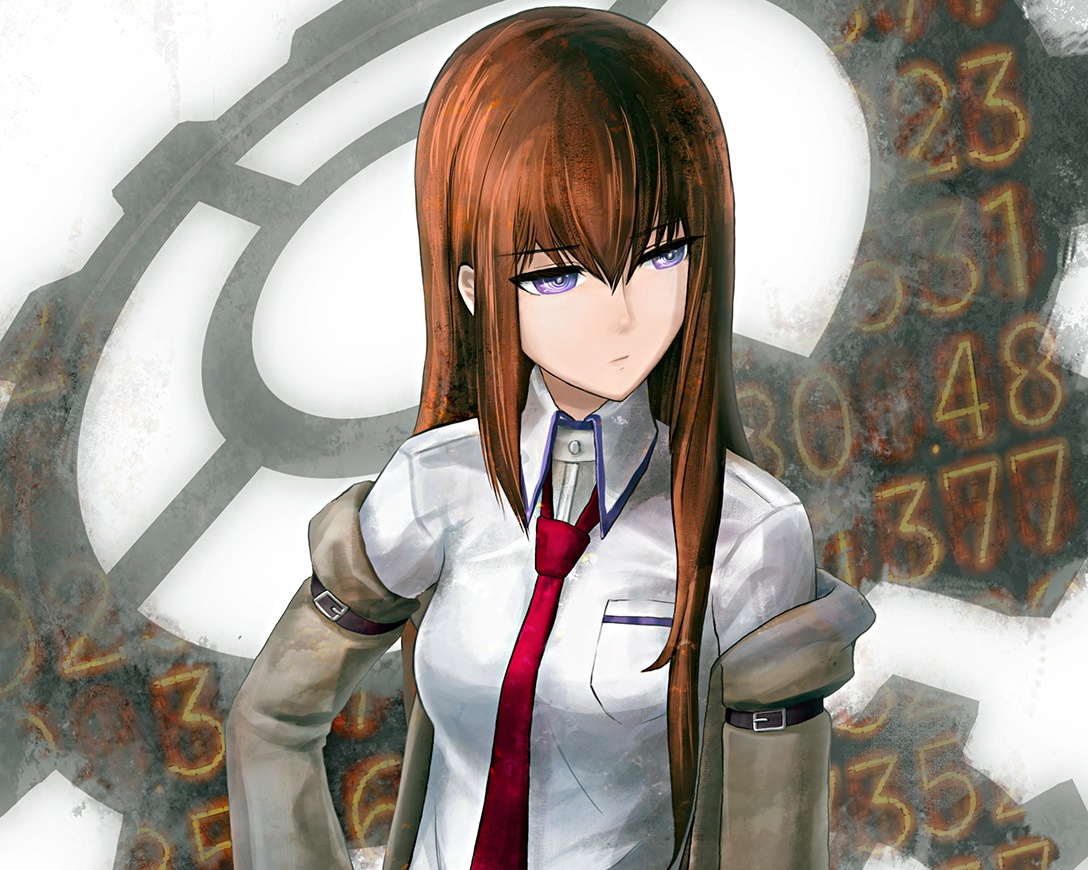 brown_hair cropped long_hair makise_kurisu purple_eyes ranh steins;gate tie