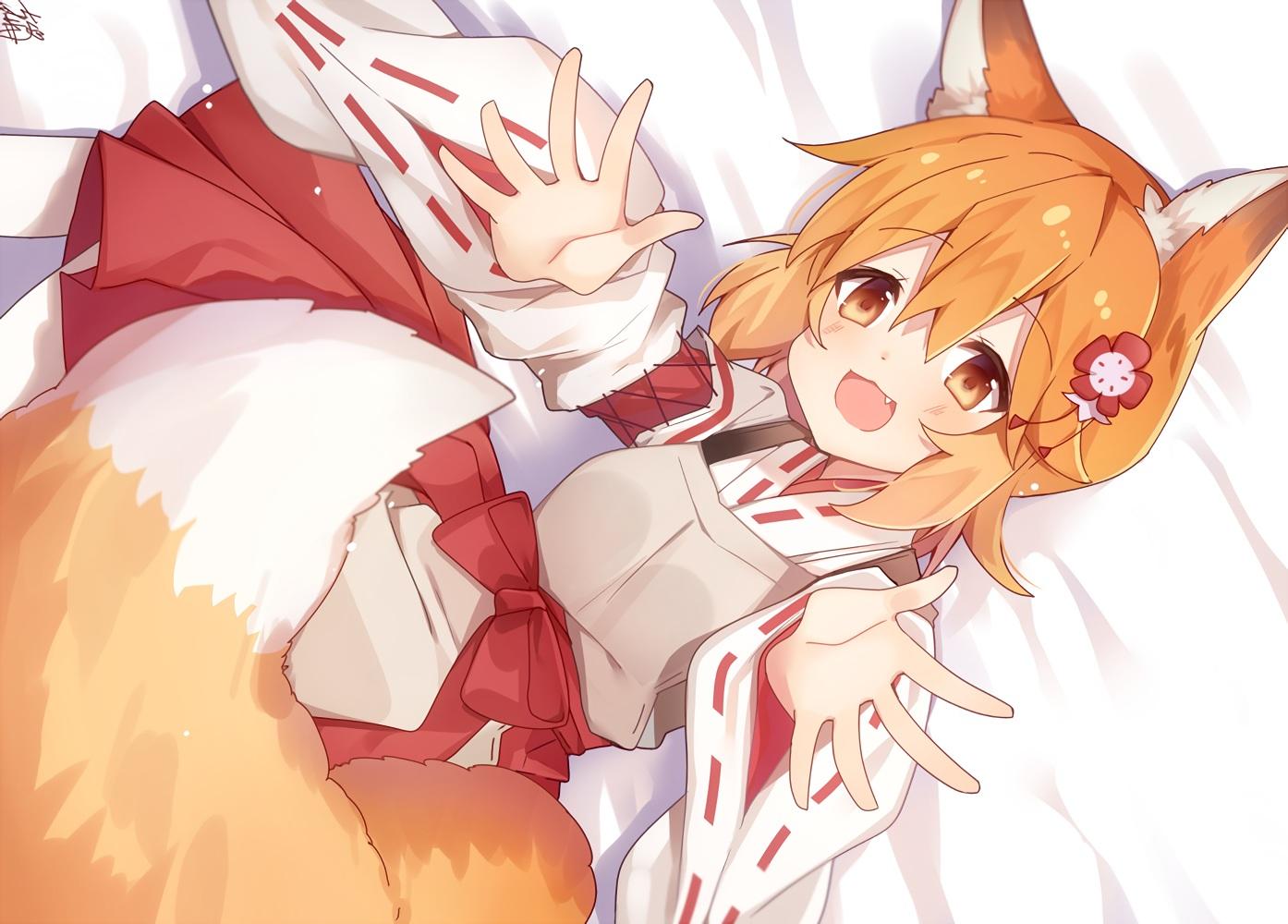 animal_ears apron blush fang foxgirl japanese_clothes loli miko omuretsu orange_eyes orange_hair senko sewayaki_kitsune_no_senko-san short_hair signed tail waifu2x