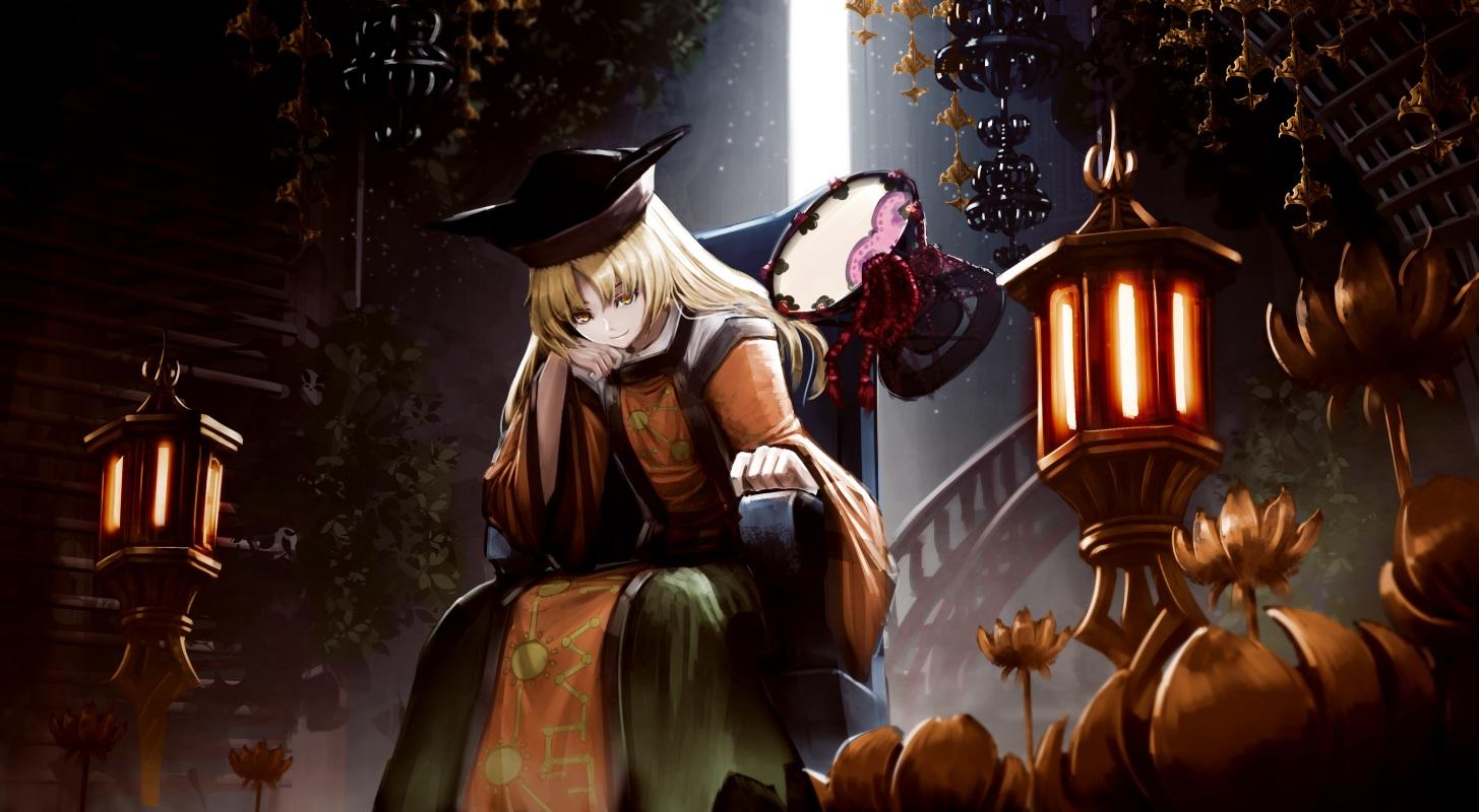blonde_hair dress drums flowers hat instrument leaves long_hair matara_okina ryosios scenic touhou yellow_eyes