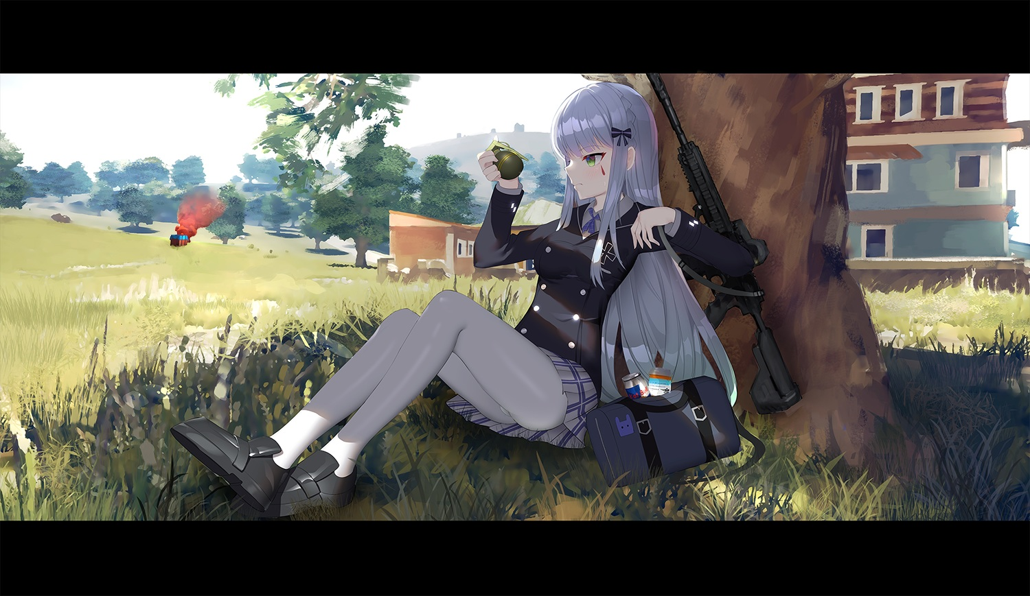 anthropomorphism girls_frontline grass gun hk416_(girls_frontline) pantyhose playerunknown's_battlegrounds tttanggvl weapon