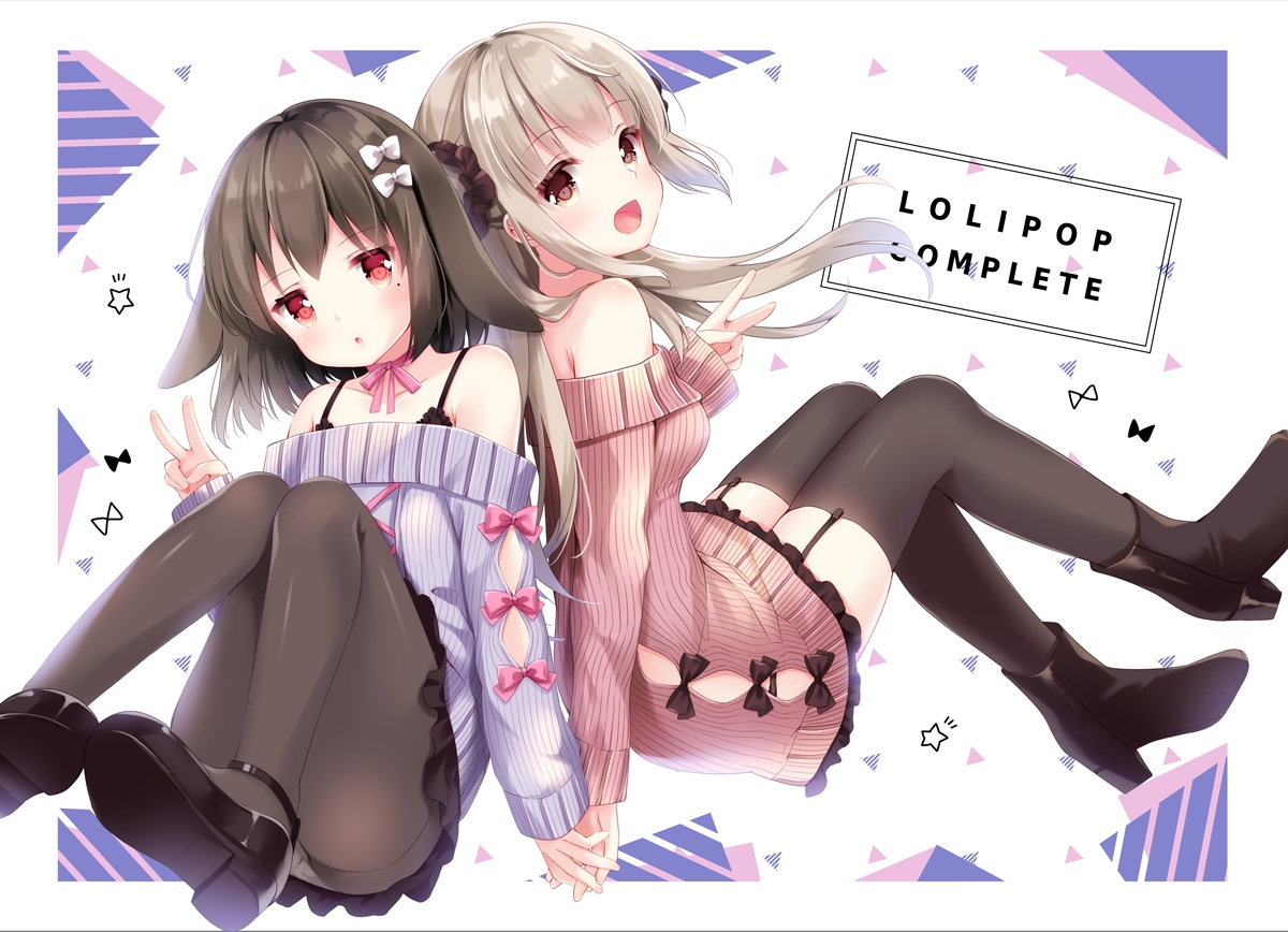 2girls aliasing animal_ears black_hair bow bra brown_eyes brown_hair bunny_ears dress garter_belt irori long_hair original panties pantyhose red_eyes short_hair stockings thighhighs underwear