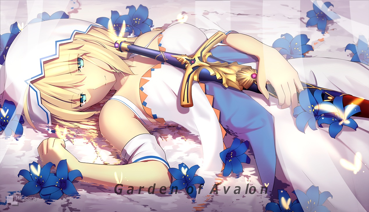 aqua_eyes artoria_pendragon_(all) blonde_hair breasts dress fate_(series) fate/stay_night flowers magicians saber short_hair sword water watermark weapon