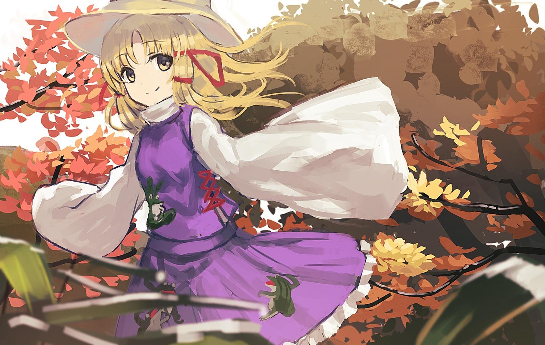 autumn blonde_hair dress hat long_hair moriya_suwako ryokucha_manma touhou tree yellow_eyes