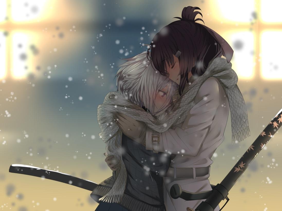 2girls 80mph hug itomi_sayaka katana scarf shoujo_ai snow sword toji_no_miko weapon yanase_mai_(toji_no_miko)