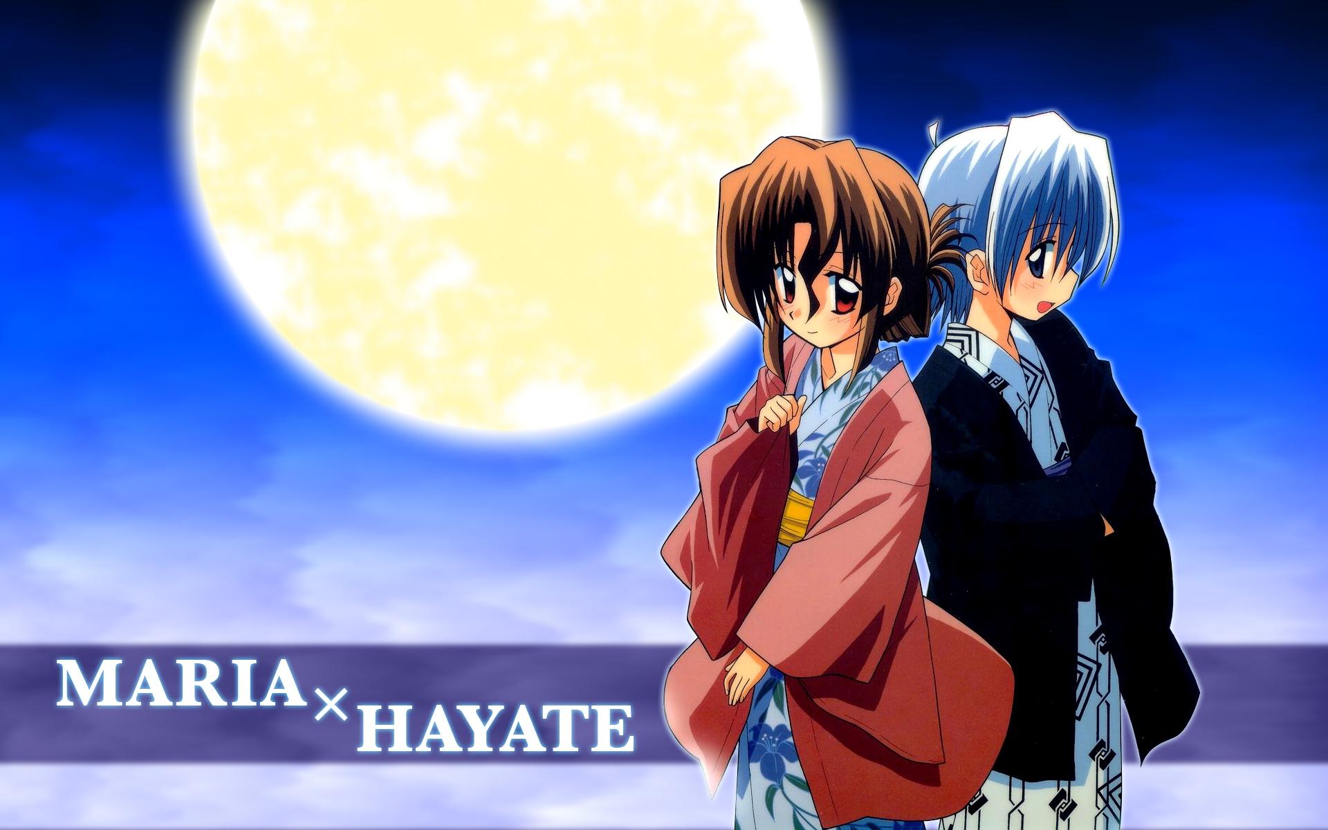 ayasaki_hayate hayate_no_gotoku japanese_clothes male maria_(hayate_no_gotoku) moon yukata