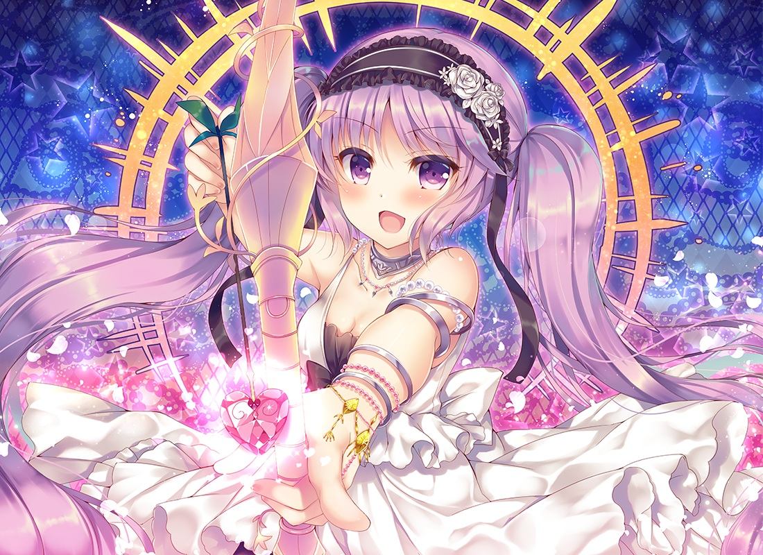 blush bow_(weapon) choker euryale fate/grand_order fate_(series) headdress long_hair purple_eyes purple_hair suzune_rena twintails weapon wristwear