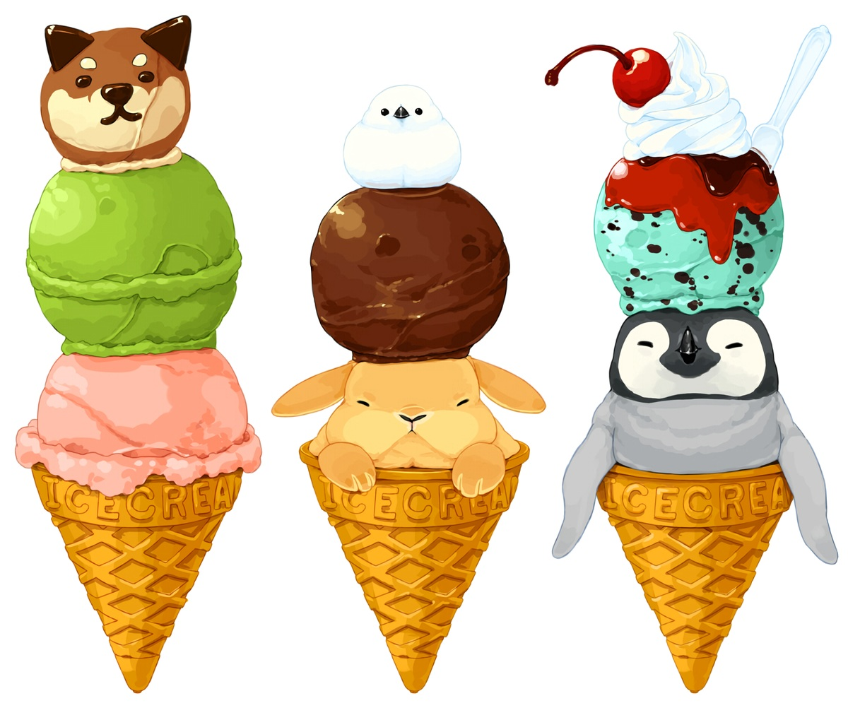 animal bird candy cherry chocolate food fruit ice_cream lilac_(pfeasy) original penguin rabbit waifu2x white
