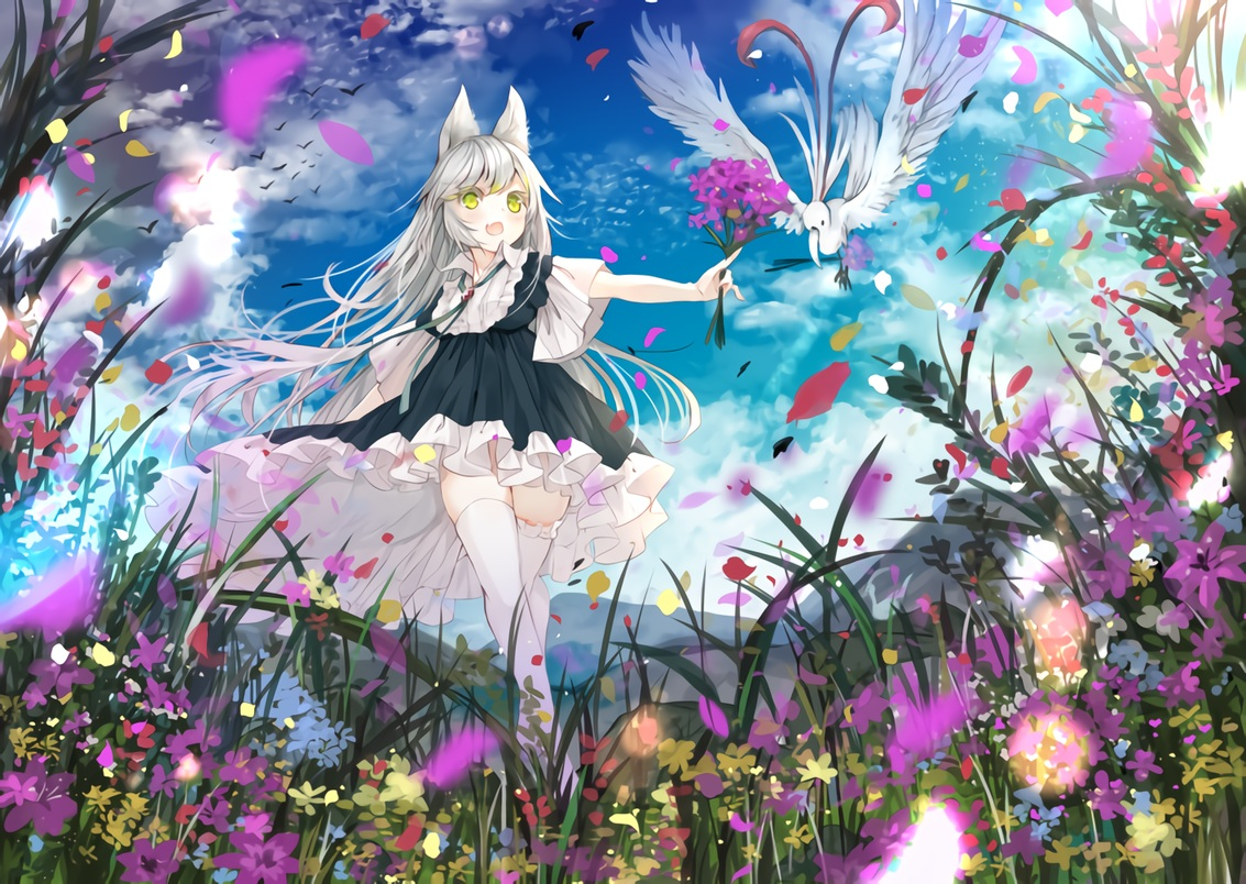 animal animal_ears bird clouds fang flowers gray_hair green_eyes lolita_fashion long_hair original sky thighhighs umi_no_mizu waifu2x zettai_ryouiki