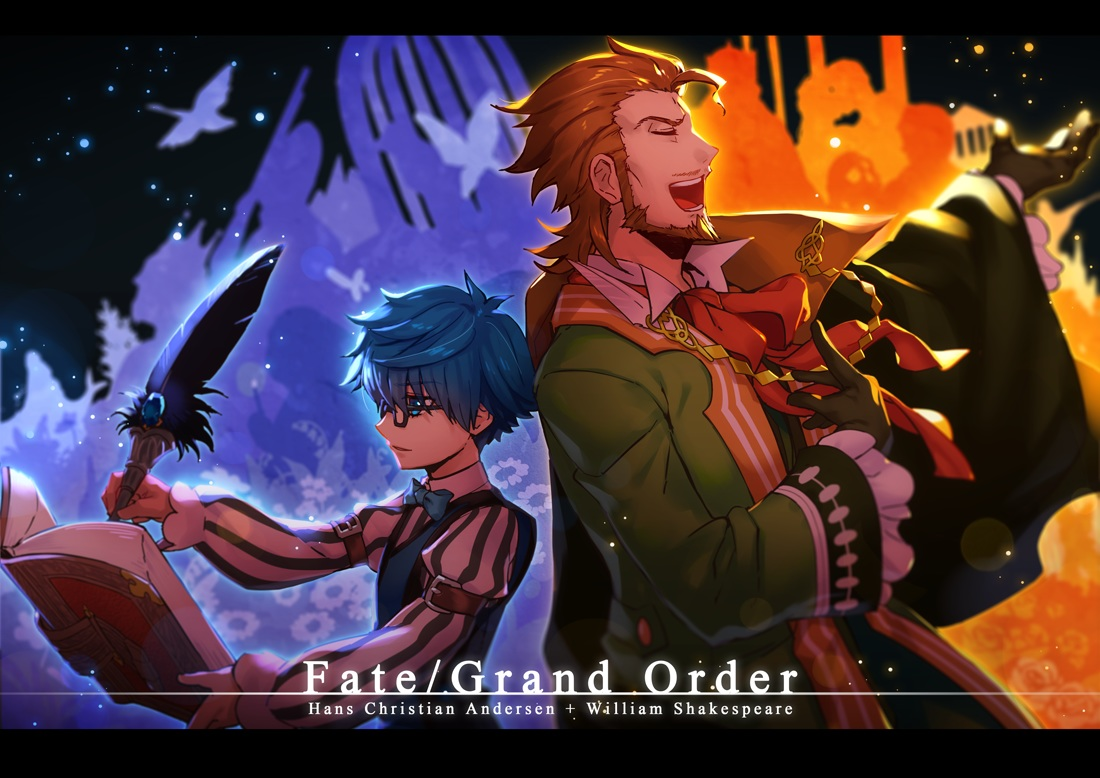 all_male blue_eyes blue_hair book brown_hair fate/grand_order fate_(series) feathers glasses gloves hans_christian_andersen kiritachi male short_hair william_shakespeare