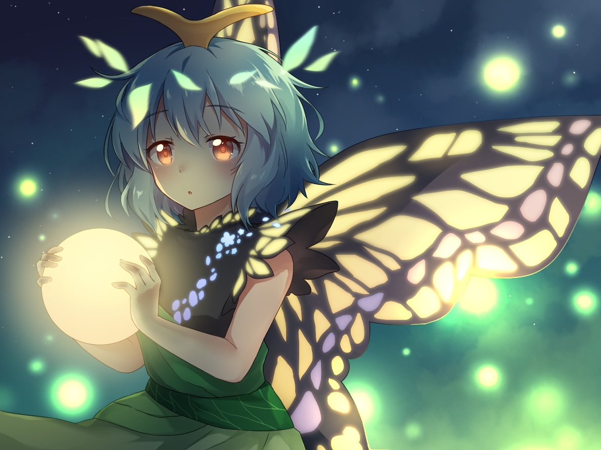 butterfly caramell0501 cropped eternity_larva green_hair short_hair touhou wings yellow_eyes
