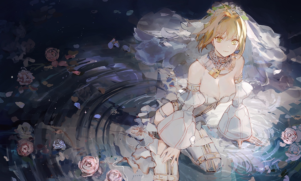breasts chain cleavage fate/grand_order fate_(series) flowers garter headdress jiayue_wu nero_claudius_(bride) nero_claudius_(fate) petals rose water wedding_attire