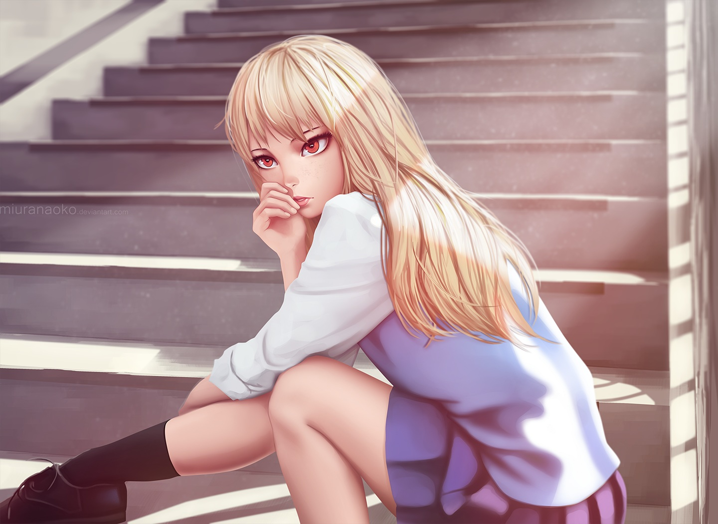 blonde_hair long_hair miura_naoko red_eyes sakura-sou_no_pet_na_kanojo seifuku shiina_mashiro skirt socks stairs watermark
