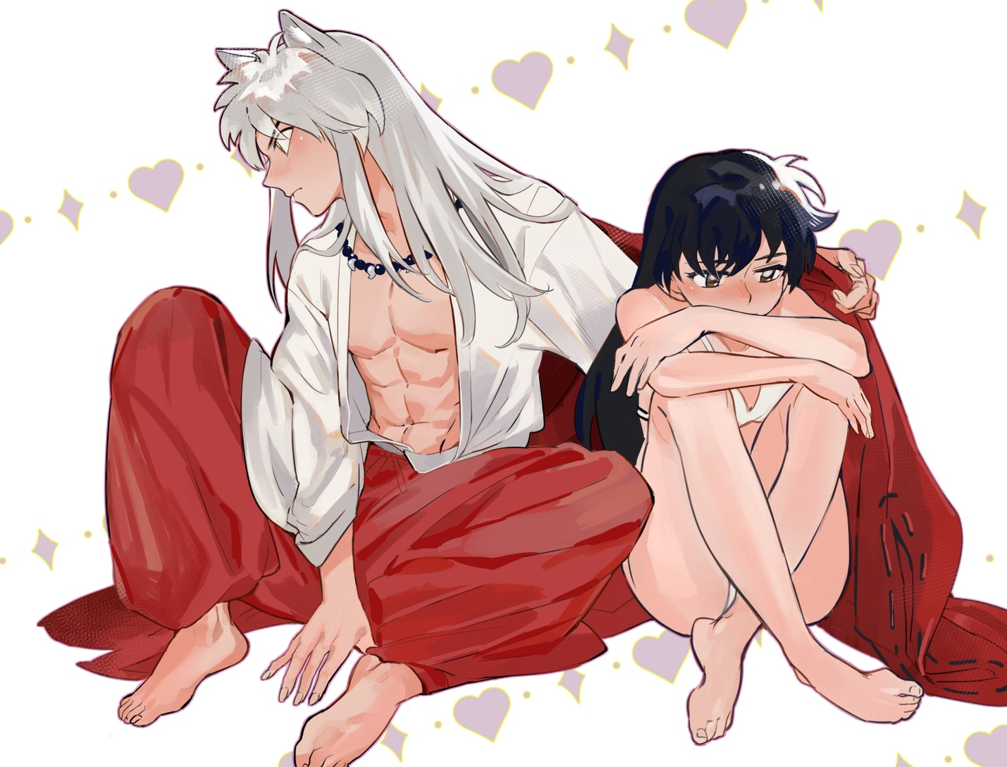 animal_ears barefoot black_hair blush bra brown_eyes gray_hair gwillarmy heart higurashi_kagome inuyasha inuyasha_(character) japanese_clothes long_hair male necklace open_shirt red_eyes underwear waifu2x white