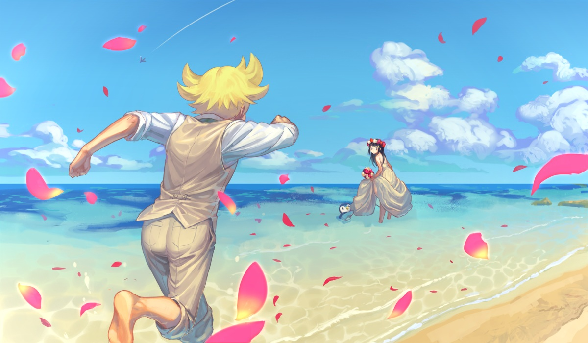 barefoot beach black_hair blonde_hair clouds flowers headdress hikari_(pokemon) jun_(pokemon) long_hair male petals piplup pokemon short_hair skirt_lift sky tagme_(artist) water wedding_attire