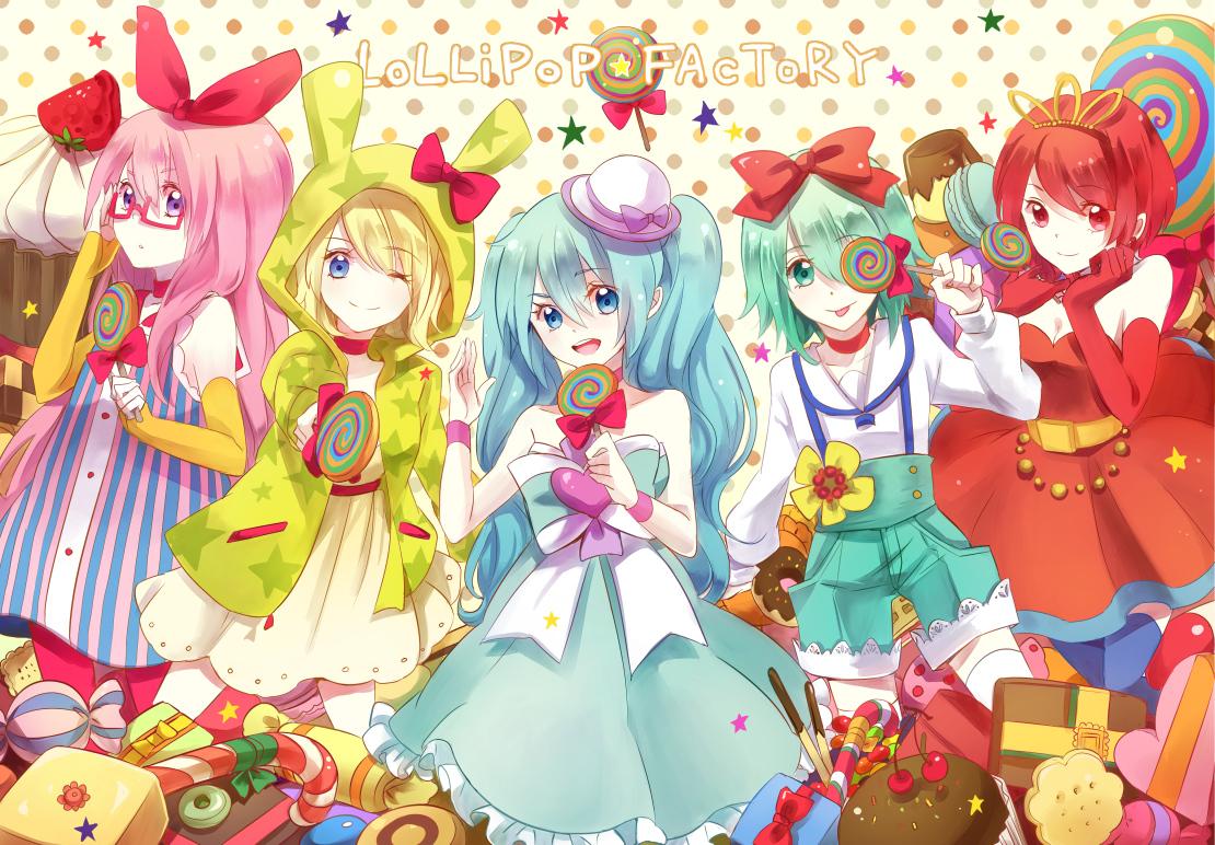 bow candy food gumi hatsune_miku kagamine_rin lollipop megurine_luka meiko pocky usami vocaloid