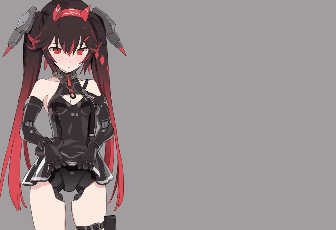 black_hair blade_(galaxist) blush dress elbow_gloves garter gloves gray headband headdress long_hair lucia_(punishing:_gray_raven) necklace punishing:_gray_raven red_eyes skirt_lift techgirl third-party_edit twintails