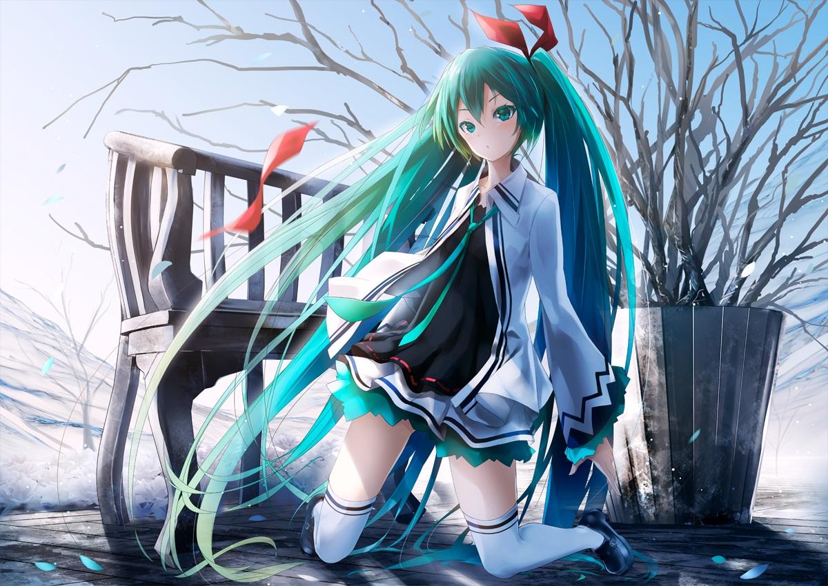 ajigo aliasing aqua_eyes aqua_hair bow hatsune_miku long_hair petals thighhighs tie twintails vocaloid winter