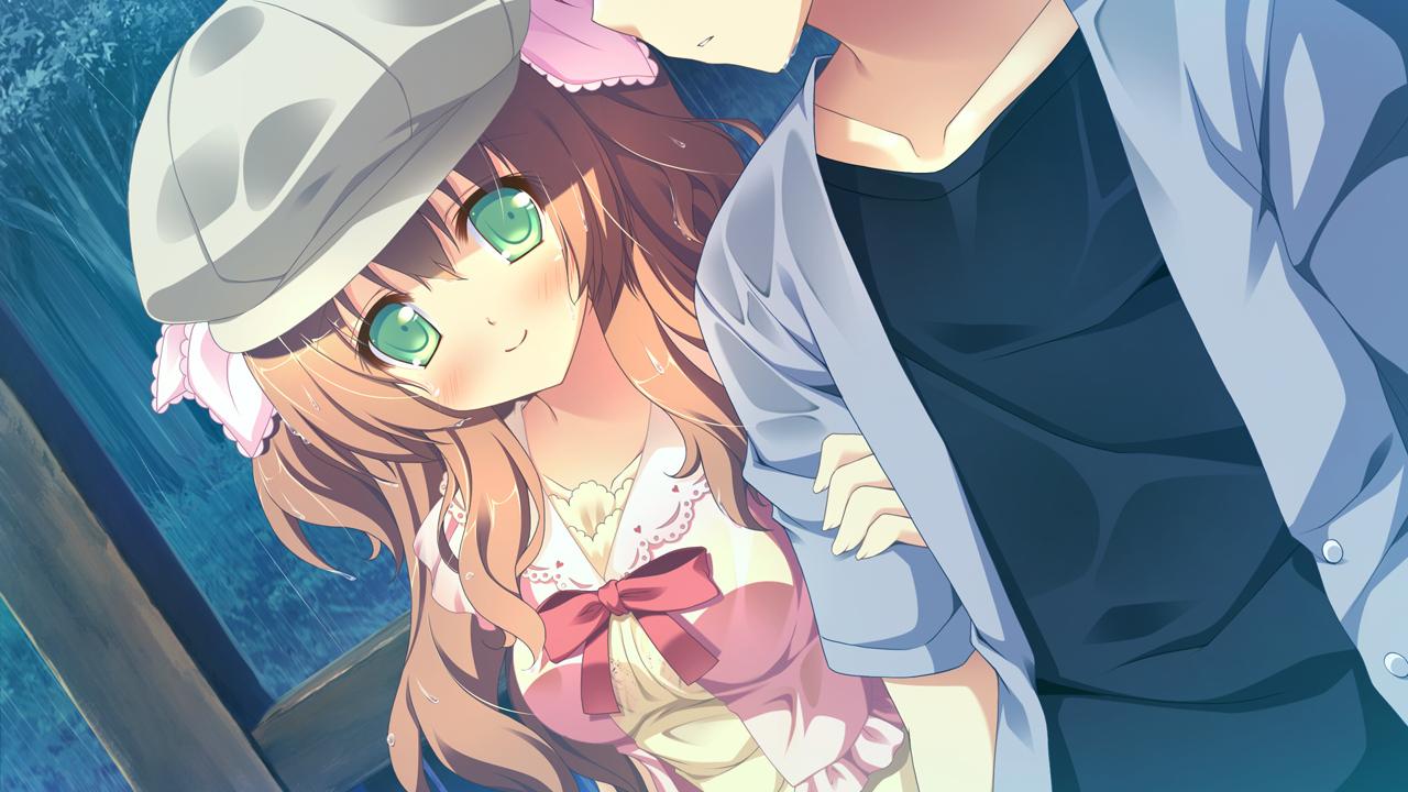 alcot blush bow brown_hair game_cg green_eyes hat kirihara_saori long_hair naka_no_hito_nado_inai narumi_yuu rain water wet