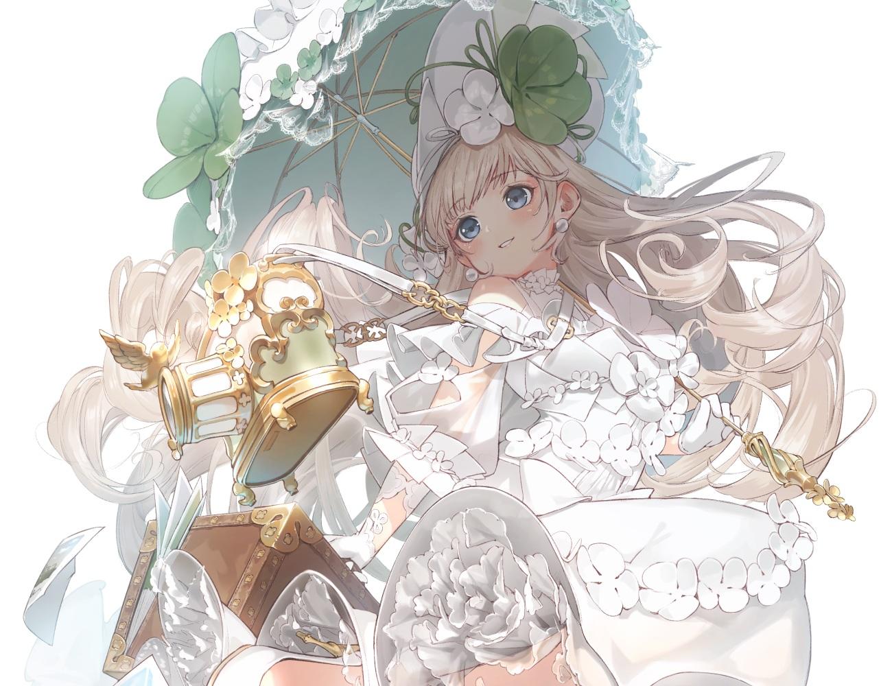 blonde_hair blue_eyes camera cropped dress gloves headdress lolita_fashion long_hair original paper ryota_(ry_o_ta) umbrella white